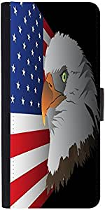 Snoogg Flag Background With Eagle Designer Protective Phone Flip Case Cover For Phicomm Energy 653 4G