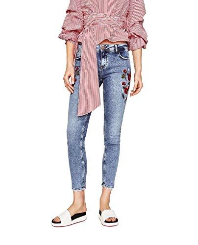 Mena UK Damen stilvoll hohe Taille Blume gestickt Knöchel Damen Skinny Bettler Jeans Bleistifthose ( Farbe : Blau , größe : 40 (70er Bottoms Jahre Bell)