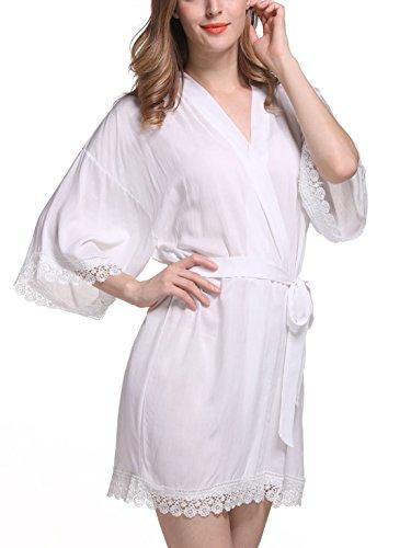 Feoya - Femme Robe de Chambre avec Dentelle Manches 3/4 - Chemise de Nuit Femme Courte - 9 Couleurs Blanc