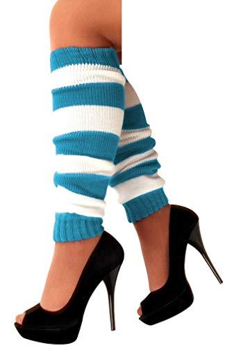 krautwear Damen Beinwärmer Stulpen Legwarmers Overknees gestrickte Strümpfe 80er Jahre 1980er Jahre, 1xtürkis, Einheitsgröße