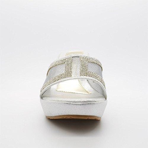 Senhoras Cunha De Sandálias Londres Plataforma Fleurette Sapatos Prata Salto EtxBUwfZUq