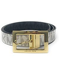 a0cea460d Michael Kors Women's Rectangle Buckle Reversible MK Logo Belt, Vanilla To  Black