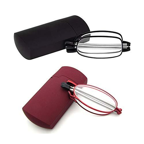 2 Stueck Lesebrille Faltbar Klappbar Schwarz Rot für Herren Damen +2.0 Metallrahmen Kompakte Leichte Brillen Anti-Müdigkeit Presbyopische Optics Gläser mit Pocket Etui,+ 2.0 (55-59 Jahre)