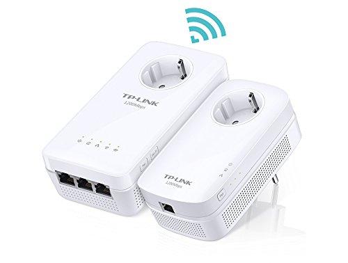 TP-Link TL-WPA8630PKIT AV1300 Wi-Fi AC 1300Mbps Pack de 2 AdaptadoresCPL (300 Mbps en 2.4 GHz et 867 Mbps en 5 GHz, 3 Puertos Ethernet, Enchufe integrado)