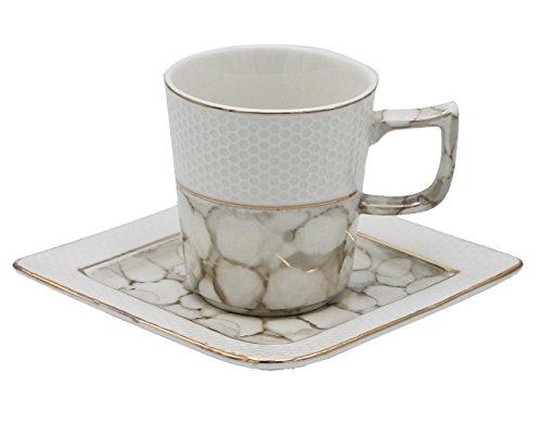 Porzellan Espresso Türkischer Kaffee Demitasse 6er Set Tassen + Untertassen mit Marmoroptik fein Demi-tasse, 3.5 oz, 100 ml grau Demi Demitasse