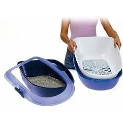 Trixie Berto Toilette avec Isolement pour Chat Bleu Clair/Taupe/Granit 39 x 22 x 59 cm 3 Pièces