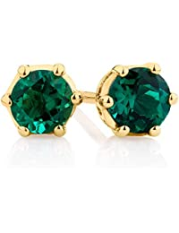 Silvernshine Jewels 0.06 Ct Round Cut Green Emerald Stud Earrings For Women's In 14K Yellow Gold Pl