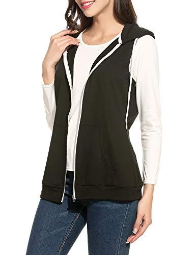 Parabler Damen Weste Ärmellos Jacke mit Kapuze Taschen Reverskragen Freizeit Sport Hoodie Schwarz Schwarz EU 40(Herstellergröße:L) -