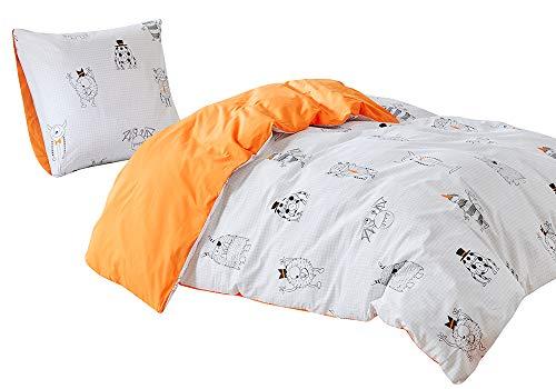 Kinder Bettwäsche 135x200cm Monster 100% Baumwolle 2-teilig Bettbezug Kopfkissenbezug 80x