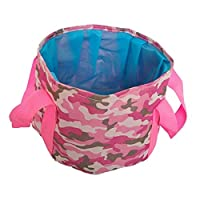 Portable Outdoor 600D Oxford Cloth Fishing Water Basin Travel Camping Washbasin Bucket Sink Bag, Color:Camouflage Pink