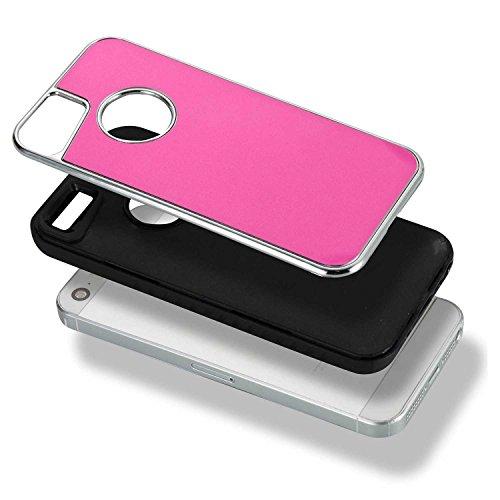 JIALUN-étui pour téléphone Housse de téléphone double arrière amovible pour IPhone 5s et SE ( Color : Silver ) Rose