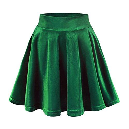 Urban GoCo Femmes Rétro Jupe Velours Plissée Patineuse Fille Elastique Court Mini Jupe (M, Vert foncé)