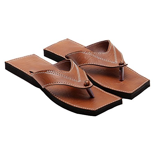 KALAKAR INDIA Men Boy Fashionable Rajasthani Handmade V-Shape Tan Ethnic Mojari Chappal 275 - 7  available at amazon for Rs.299