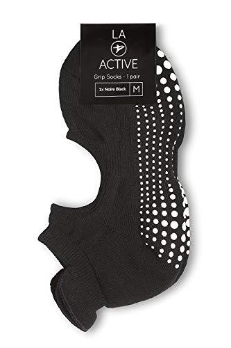 LA Active Grip Chaussettes Antidérapantes - Pour Yoga Pilates Barre Femme  Homme - Ballet - Noir 232497d223a