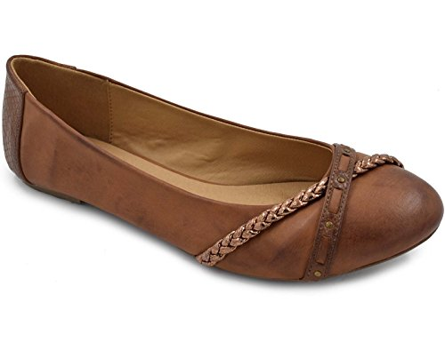 Ballerina Pumps Greatonu Women's Faux Leather Comfort Ballet Flat Shoes 39EU Camel...