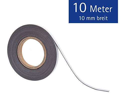 Magnetklebeband, Selbstklebende Vorderseite, Magnetische Rückseite, Schneidbar, Bruchfest, LxB 10m x 1 cm, 1 Stück