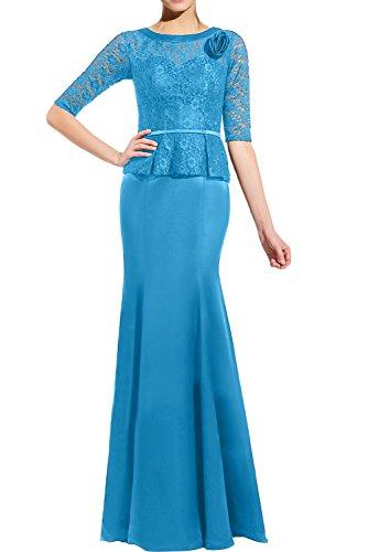 Gorgeous Bride Romantisch Lang Halb Ärmel Meerjungfrau Satin Spitze Brautmutterkleider Abendkleider Lang Festkleider Ballkleider Blau