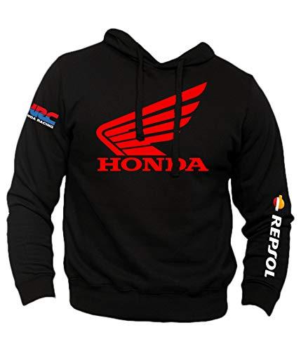 Felpa Personalizzata Honda Vintage Racing HRC Moto GP Repsol Motors Marquez MM93 Sport Senza Tascone (M, Nero)