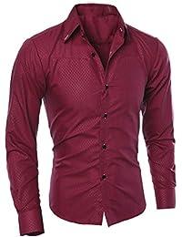 Malloom Chemises Slim à Manches Longues Blouse imprimée à la Mode pour Homme 7897ff63fa5c
