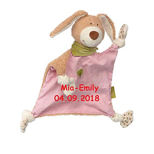 Sigikid Schmusetuch green mit Namen bestickt Baby Geschenk zur Geburt Schnuffeltuch Hase Maus Bär Hund Schaf Gans (Hase rosa kariert)