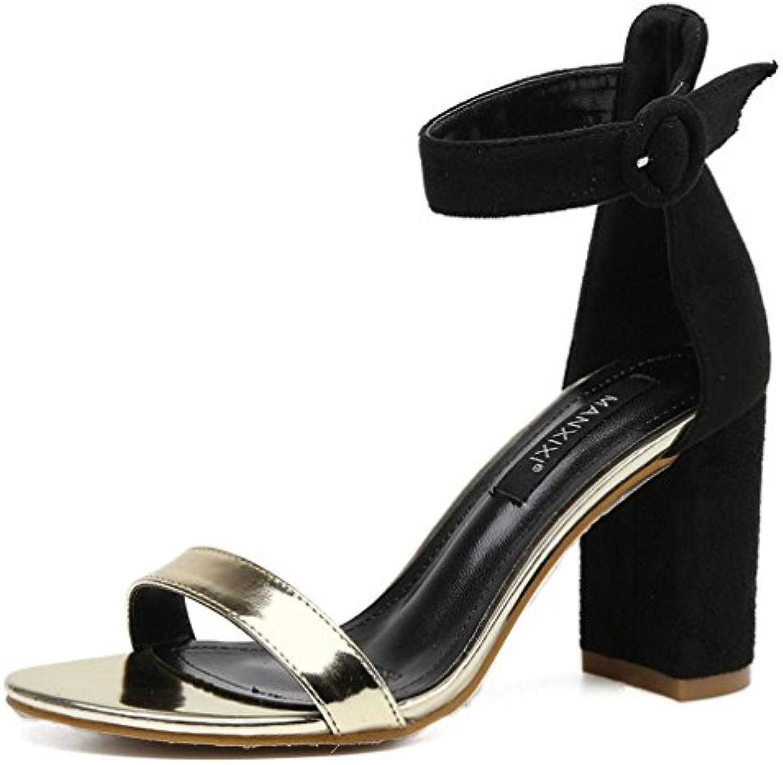Xianshu Mujeres Peep Toe Sandalias de Gamuza Hebilla de Tobillo Zapatos de Tacón de Bloqueo -