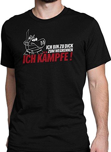 vanVerden Unisex T-Shirt XS-5XL Ninja Hippo - Zu Dick, Ich kämpfe Schwarz
