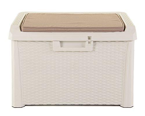 Ondis24 Kissenbox Santo Kompakt Auflagenbox Gartenbox Allzweckbox Sitztruhe 120 Liter (Kompakt,...