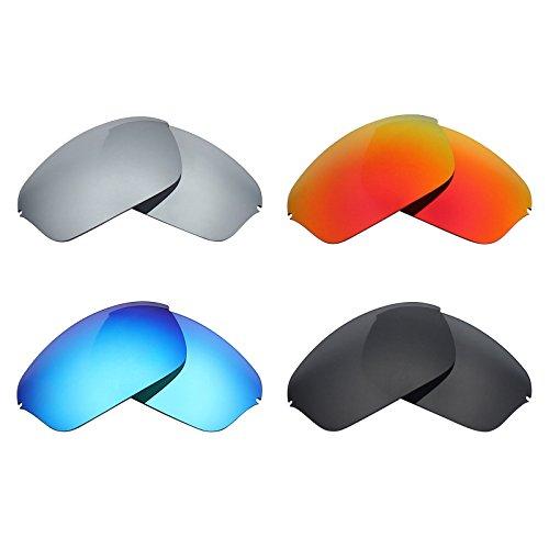 MRY 4Paar Polarisierte Ersatz Gläser für Oakley Half Wire 2.0sunglasses-stealth schwarz/fire rot/ice blau/silber titan