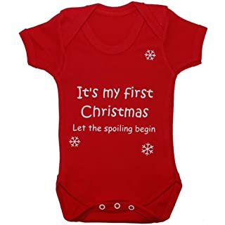 Acce Products It's My First Christmas Let The Spoiling Begin Baby Grow/Bodysuit/Romper/Vest/T-Shirt - 6-12 Months - Red