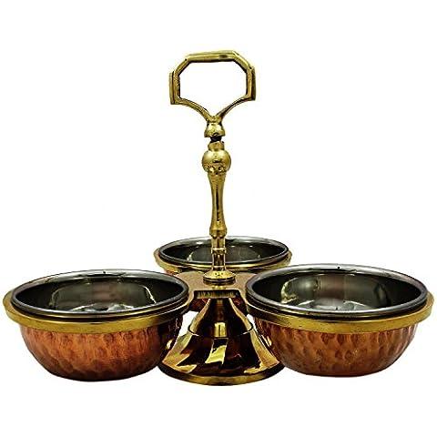 Vajilla cobre Serveware Pickle condimentos titular tres sirviendo Bowls Set