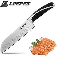 Leepes cuchillo Santoku 7 pulgadas Chef profesional Cuchillo Alemania Acero inoxidable de alto carbono ABS Mango negro ergonómico