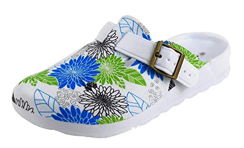 Damen Clogs weiß Bunte Blumen Muster (36 EU, Blumen Grün/Blau)