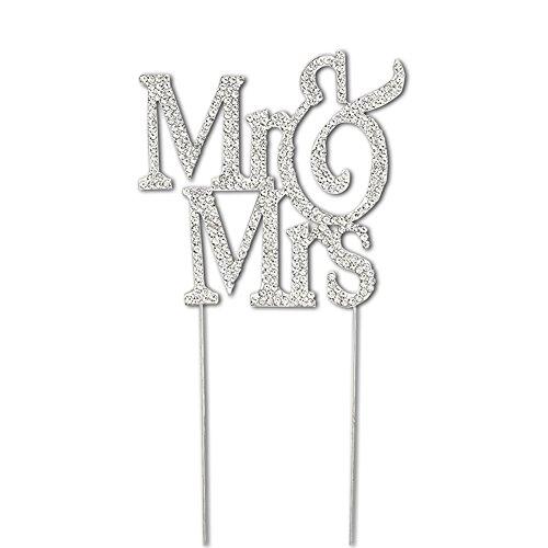 xquisite Hochzeit Party Silber Kristall Dekorieren Kuchen Topper MR & MRS (Halloween-kuchen-dekoration Walmart)