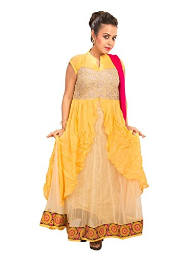 Sharmili Yellow Latest Designer Anarkali Embroidered Net Salwar suit for women, Matching Churidar & Dupatta, ( stitched ),L / XL size,Chinese CollarDaily wear / Party Wear By Zenith Garments  available at amazon for Rs.2195