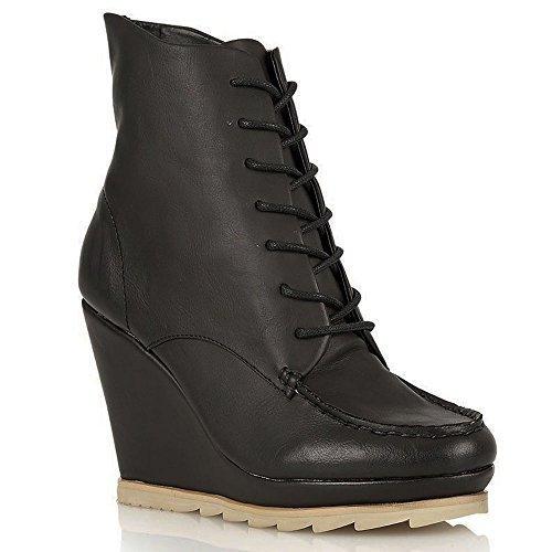 Damen Schnürbar Plateau Knöchel Keilabsatz Stiefel Größe UK 3-8 - Damen, Schwarz, 40 (Frauen 7 Stiefel Winter Größe)