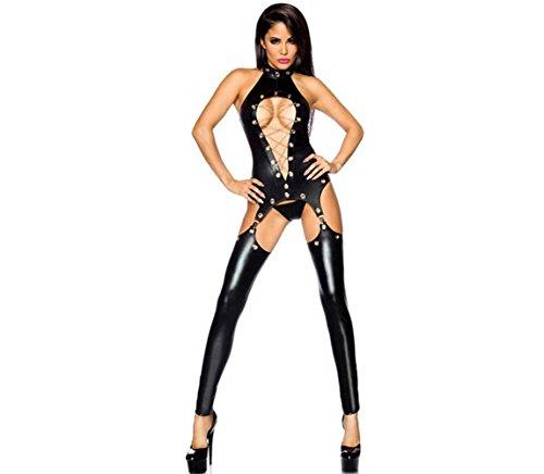 FUNKY LOVER Sexy Dessous Leder Geöffneter Schritt Catsuit Overall Faux Leder Nass Aussehen Verein Body , M (Kreuz-vorderseite Trikot)