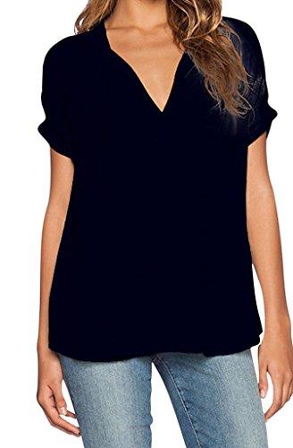 Bigood Femme T-shirt Chiffon Blouse V Col Chemise Asymétrie Uni Noir