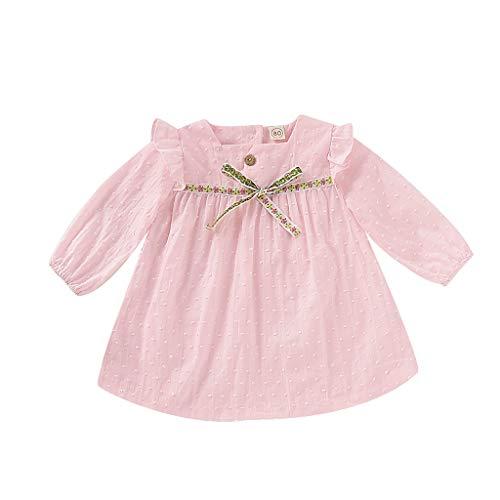 �dchen Kleinkind Bowknot Soild Einfach Langarm Lässig Baumwolle Tops Prinzessin Kleid Kleidung 1-4 Jahre ()