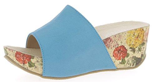 Andrea Conti Damen 1545707 Keil-Pantoletten, Größe:39 EU, Farbe:Türkis