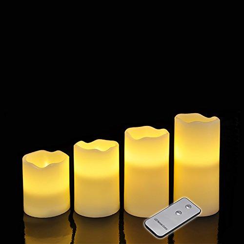4piezas LED de cera de velas Juego de Leuchten Cera sin llama con Mando a distancia color blanco