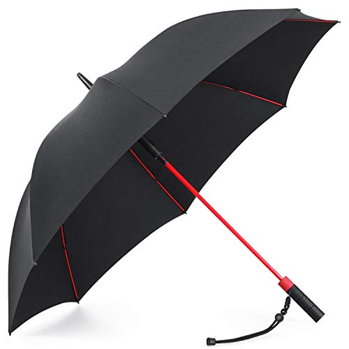 Plemo Paraguas Abierto Automático 8 Varillas Fibra de Vidrio Estilo de Golf Grande del Paraguas, 120 cm de Diámetro, Repelente al Viento