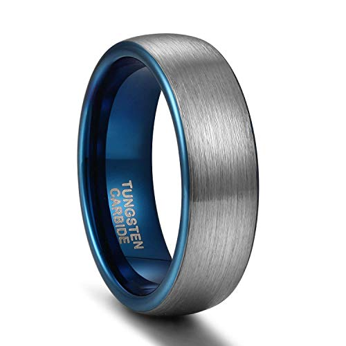 Titaniumcentral 6mm/8mm Wolframcarbid Ringe Gebürstet Trauringe Verlobungsringe (Blau(6mm), 63 (20.1))
