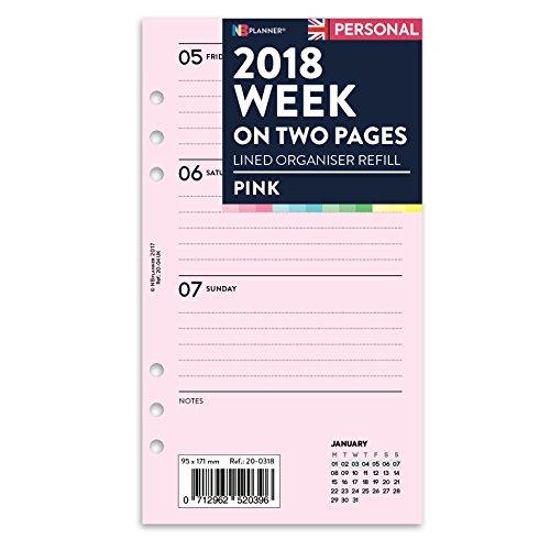 nbplanner® 2018Woche auf zwei Seiten gefüttert Diary Planner Refill Einsatz Filofax Personal kompatibel Farbige rose (Planner Personal)