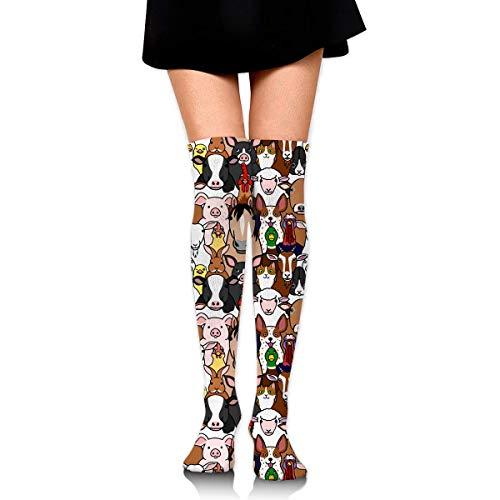 vbcnmbnv Cotton Thigh High Compression Socks, Farm Animals Faces Pattern Tube Socks (Farm Animal Tubes)