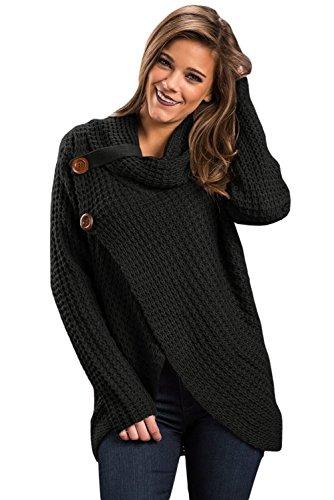 Neue Damen Chunky Wrap vorne Wasserfallkragen Winter Jumper Pullover Club Wear Warm Strickwaren Größe UK 16–18EU 44–46 (Pullover Schaltfläche Detail)