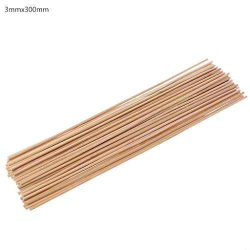 JunYe 50 Holz-Pflanzenstäbchen aus Bambus, für Gartenpflanzen, Blumen, Stützstäbe - 3 x 300 mm - 3x300mm Bambus Blumen