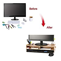 crayfomo Wooden Monitor Stand, Desktop Monitor Riser, TV Stand and Desk Organizer, with Slots for Office Supplies and Storage Space for Keyboard and Mouse, Wide Screen Riser for Computer Monitor/Laptop/TV/Printer
