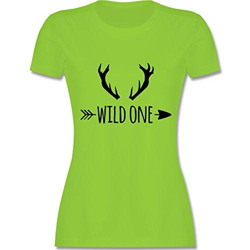 Boheme Look - Wild One Hirschgeweih - tailliertes Premium T-Shirt mit Rundhalsausschnitt für Damen Hellgrün