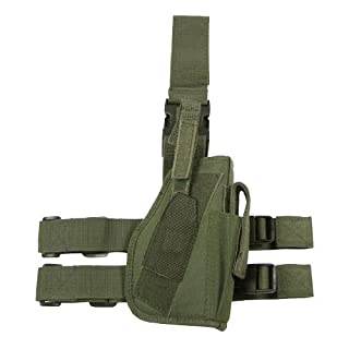 ARSUK Leg Holster Shoulder Holster Tactical Army Military Police Security Airsoft Pistol Gun Belt Drop Leg Thigh Holster with Magazine Pouch (Leg Holster-Olive Green)