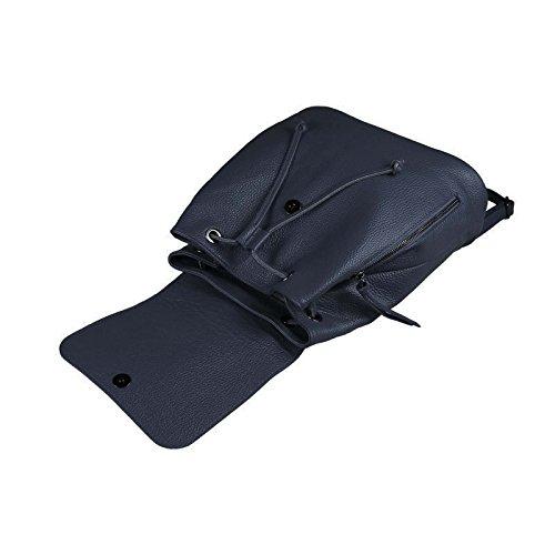OBC MADE IN ITALY DAMEN Echt LEDER RUCKSACK Cityrucksack Lederrucksack Tasche Schultertasche Ledertasche Stadtrucksack Rindsleder Handtasche Daypacks Backpack (Dunkelrot) Dunkelblau